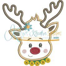 Reindeer Head Applique 2 Snap Shot