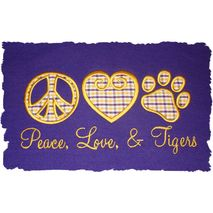 Peace Love and Paw stitched by Cindy Couie