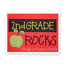 2nd Grade Rocks Chalkboard Applique