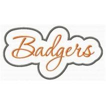 Badgers Applique Script Satin Snap Shot