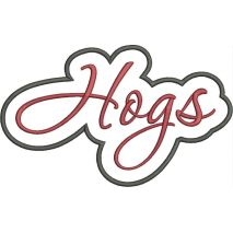 Hogs Applique Script Satin Snap Shot