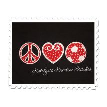 Peace Love and Soccer stitched by Shannon Bazo