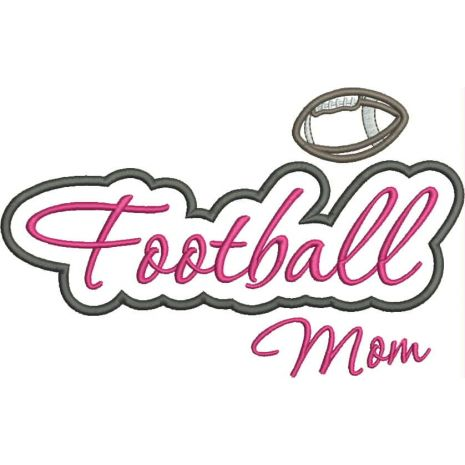 Football Mom Applique Script Satin Snap Shot