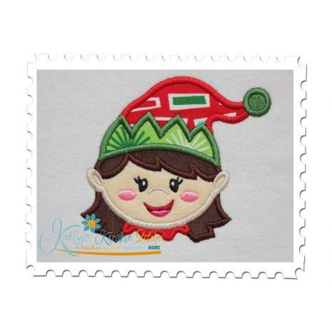 Girl Elf Applique Head Shot  (4x4)