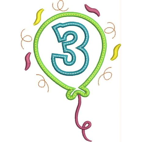 Party Balloon Applique Number Set #3 Snap Shot