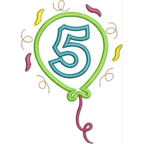 Party Balloon Applique Number Set #5 Snap Shot