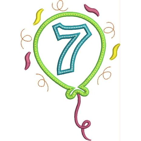 Party Balloon Applique Number Set #7 Snap Shot