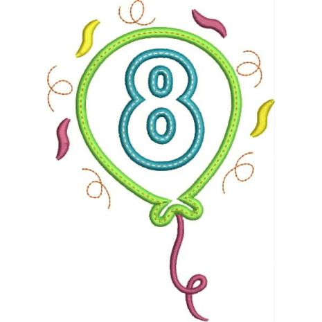 Party Balloon Applique Number Set #8 Snap Shot