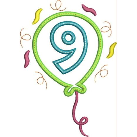Party Balloon Applique Number Set #9 Snap Shot