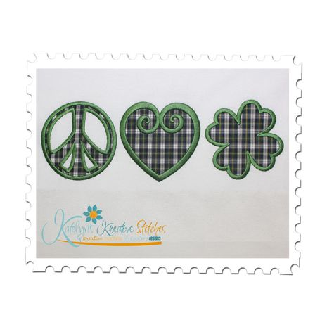 Peace Love and Shamrock Applique