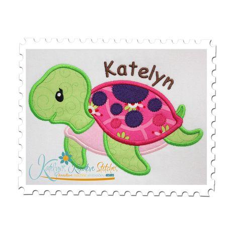 Sea Turtle Girl Applique
