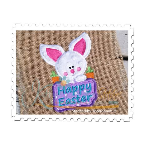 Baby Bunny with Happy Easter Sign