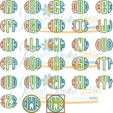 Circle Monogram Applique Font Snap Shot
