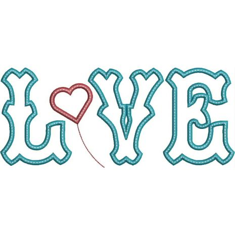 Love Applique Text with Heart Snap Shot