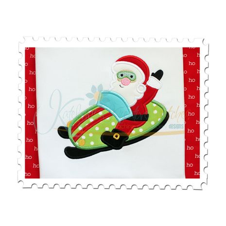 Santa's Snowmobile Applique