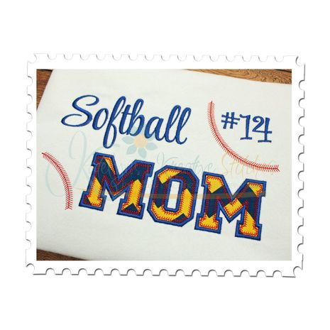 Softball MOM Applique (Numbers not included)