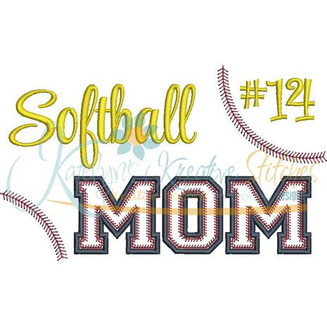 Softball MOM Applique Snap Shot (Numbers not included)