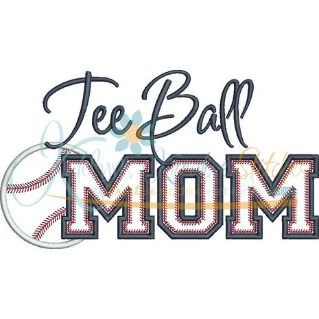 Tee Ball MOM Applique Snap Shot