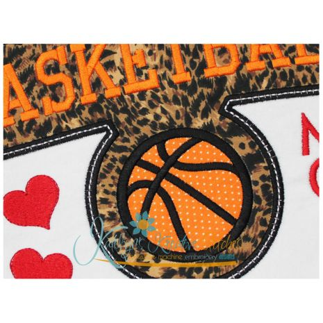Basketball Mom Block Arc Applique Close Up