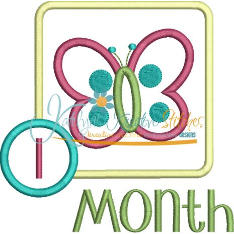 Butterfly Applique Frame Month Snap Shot