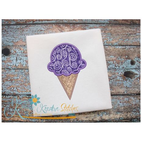 Ice Cream Cone Applique Snap Shot
