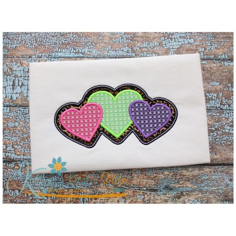 Triple Hearts Motif Applique