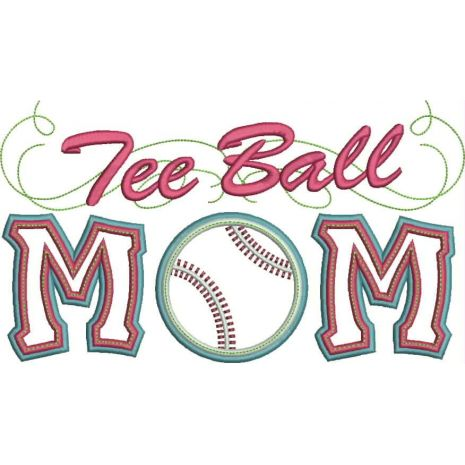 Tee Ball Mom Applique with a Twist Snap Shot
